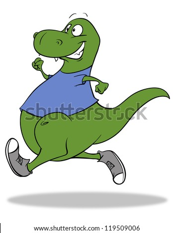 A cartoon dinosaur running for exercise or for fun.