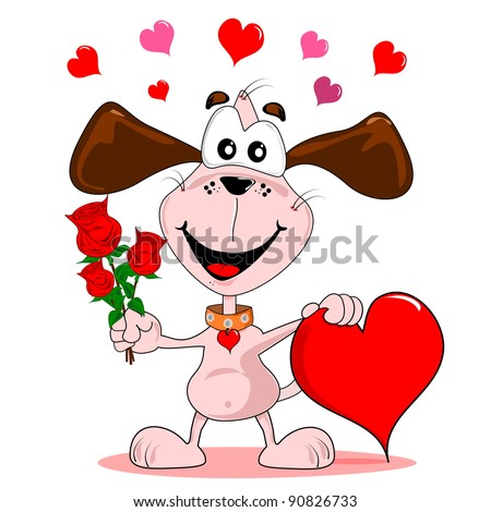 A cartoon dog with red roses & love heart in valentines day romantic concept