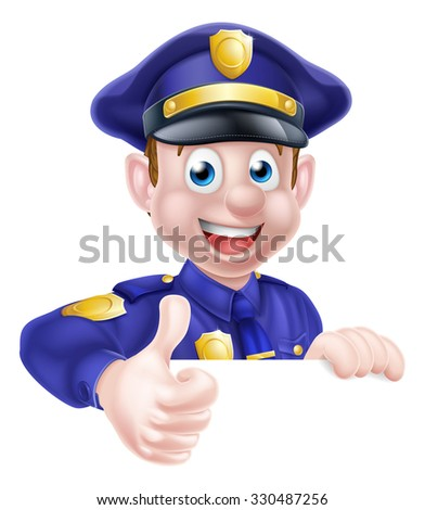 A cartoon friendly policeman peeking over a sign and giving a thumbs up - stock photo
