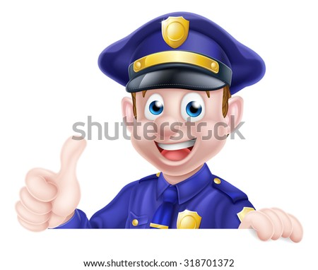 A cartoon friendly policeman peeking over a sign giving a thumbs up  - stock photo