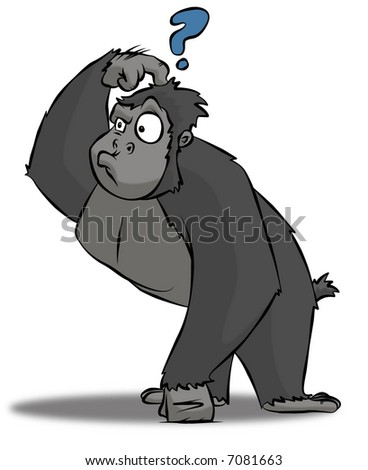 A cartoon gorilla who is very perplexed at something or other. - stock photo