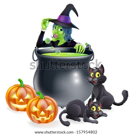 A cartoon Halloween scene with witch tipping her hat and cooking a bubbling cauldron full of green witch brew - stock photo
