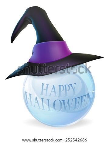 A cartoon Halloween witch hat on a crystal ball with Happy Halloween message on ball - stock photo