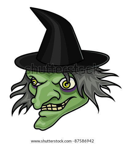 A cartoon halloween witch head or mask. Raster. - stock photo