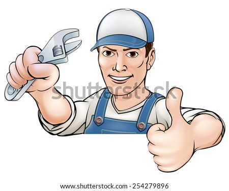 A cartoon mechanic or plumber giving a thumbs up  - stock photo