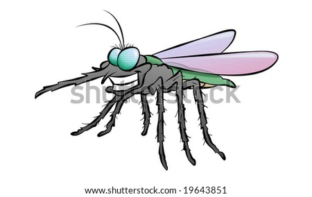 A cartoon mosquito who looks like he's found his next victim. - stock photo