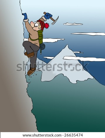 A cartoon mountain climber who may be in over his head. - stock photo