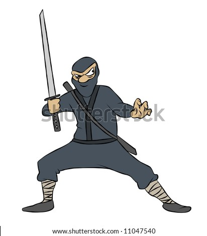 A cartoon ninja with sword drawn, ready to pounce. - stock photo