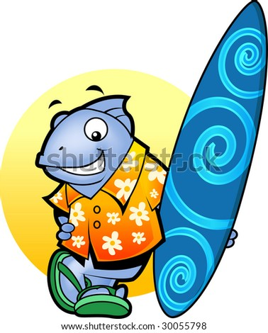 A cartoon of a fish in surf shirt and slippers, smiling as it holds a surfboard.