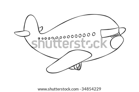 A cartoon passenger jet flying to it's destination.
