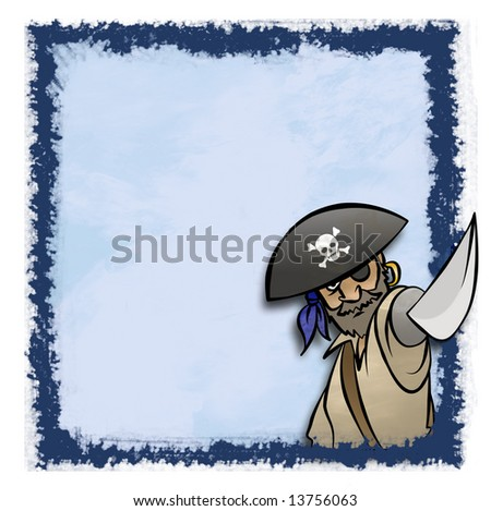 A cartoon pirate in an artistic frame. Maybe for an invitation. - stock photo