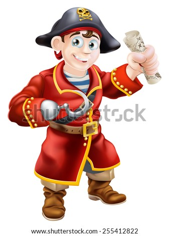A cartoon pirate smiling with a hook and holding a scroll treasure map