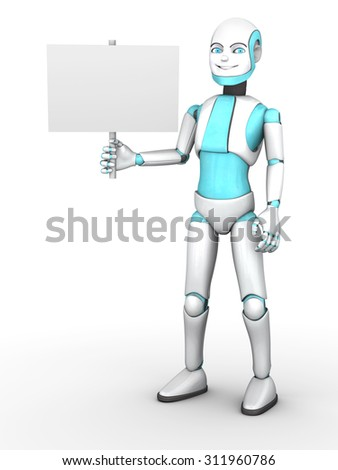 A cartoon robot boy smiling and holding a blank sign. White background. - stock photo