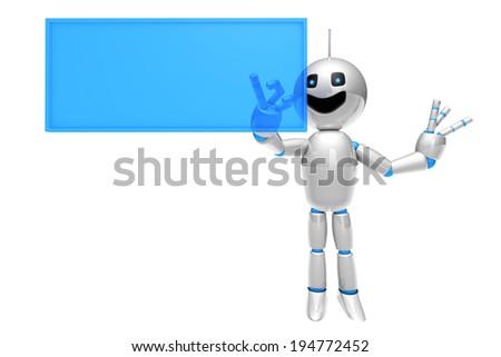 A cartoon Robot using a virtual touchscreen or Display. - stock photo