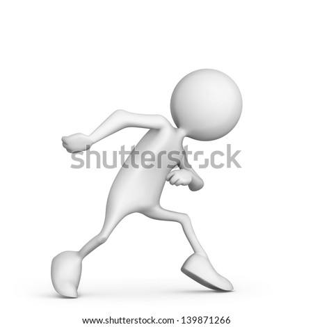 A cartoon runner in starting position. 3d rendered illustration. Isolated on white. - stock photo