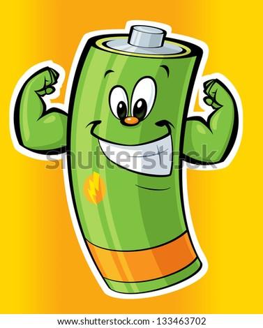 A cartoon strong green battery smiling - stock photo