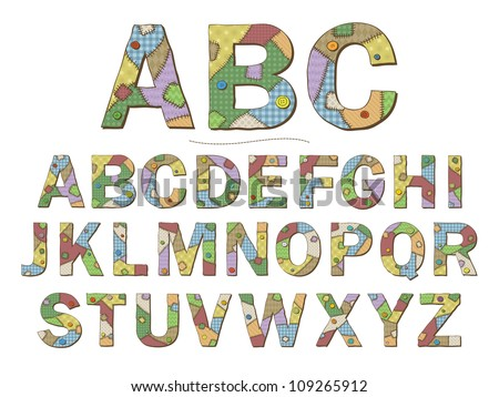 A cartoon style font depicting patchwork quilt letters. Raster. - stock photo