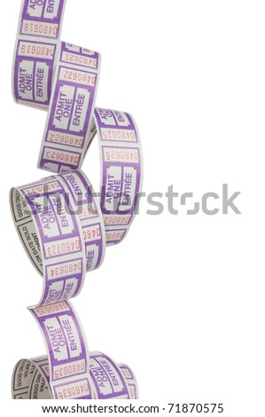 A Cascade of Generic Purple and White Admit One Tickets with Room for Text, Isolated on White, Vertical