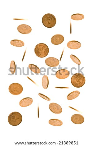 A cascade of one Ounce gold Krugerrand coins from South  Africa isolated on white. - stock photo