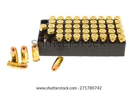 A case of .45 caliber bullets. - stock photo
