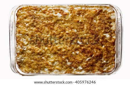 A casserole of baked macaroni and cheese. - stock photo