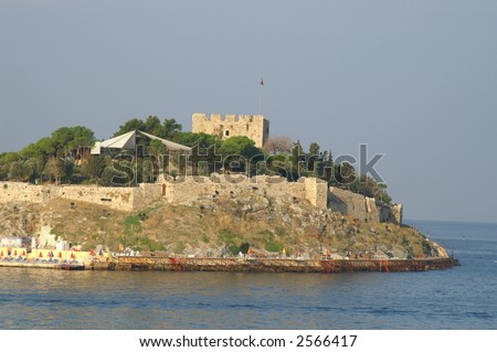 A castle and sea in Kusadasi (Kushadasi), Turkey