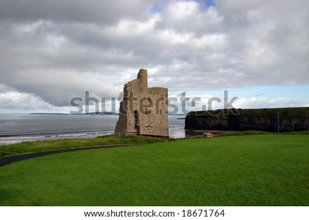 a castle in ballybunion county kerry ireland - stock photo