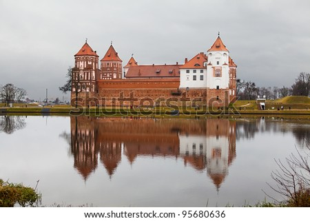 A castle in Mir. Built in 16th century. Is a UNESCO World Heritage site in Belarus - stock photo