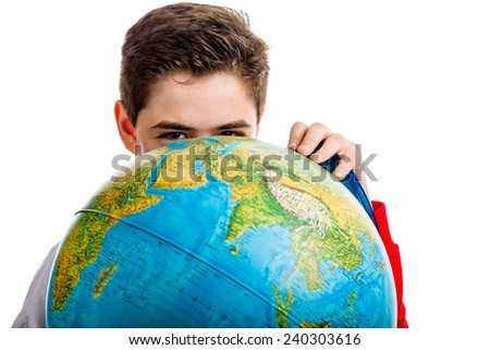 A Caucasian boy hidden a globe reveals only the eyes and part of the face