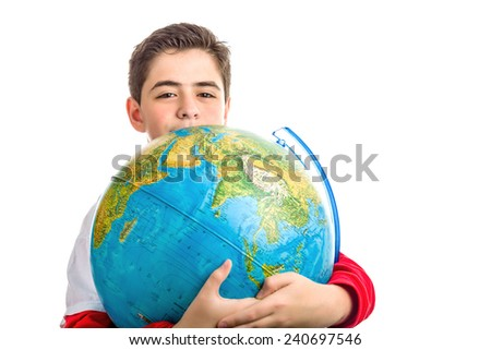 A Caucasian boy hugs a globe revealing only the eyes and part of the face