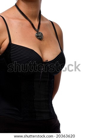 A caucasian female wearing a black necklace and pinstripe top isolated on a white background