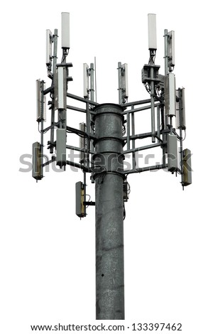 A cellular communications tower isolated on white - stock photo