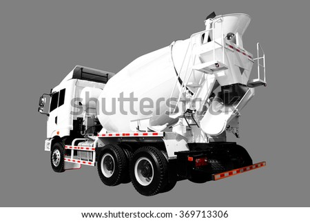 A Cement Delivery Lorry isolated on gray background with clipping path - stock photo
