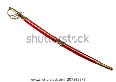 a ceremonial pirate sword isolated over a white background
