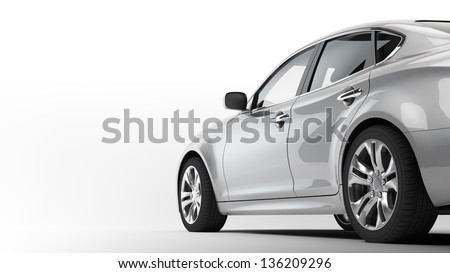A CG render of a generic luxury sedan - stock photo