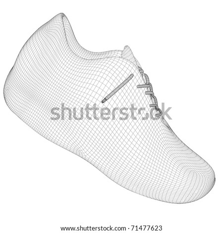 A CG rendering of a man shoe