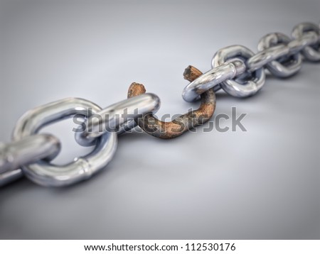 A chain with a broken, rusted and weak link - stock photo