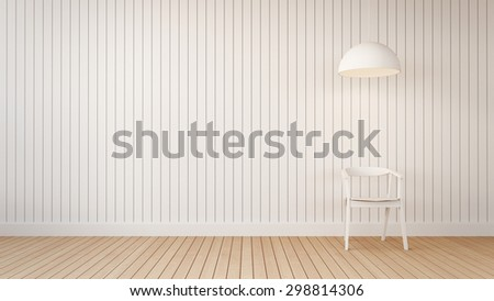 A chair with wooden wall / 3D Render Image - stock photo