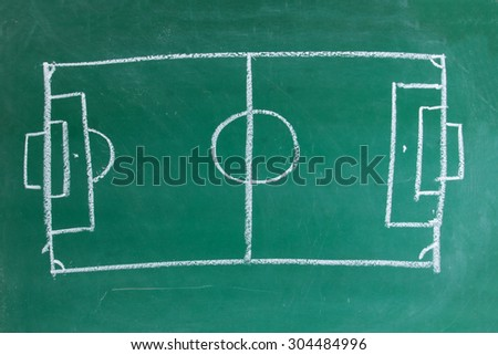 A chalk drawing of Football soccer field on blackboard - stock photo