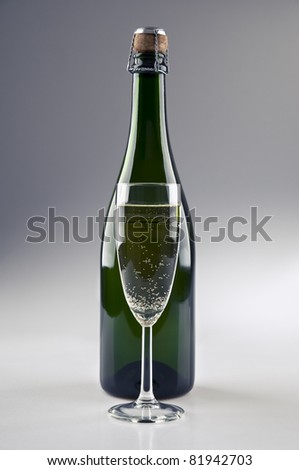 A champagne bottle and glass standing in front - stock photo