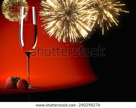 A Champagne glasses with fireworks on background - stock photo
