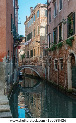 A channel in residential part of Venice, Italy - stock photo