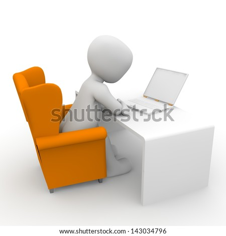 A character deals with his work on the computer.