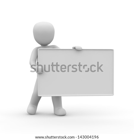 A character holding a blank panel in his hands.