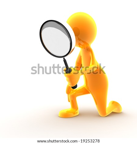 A character is taking a closer look (you can easily add your product just in front of him). - stock photo
