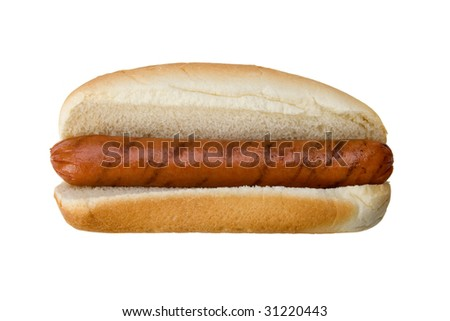 A charbroiled hot dog on a bun. No condiments. - stock photo