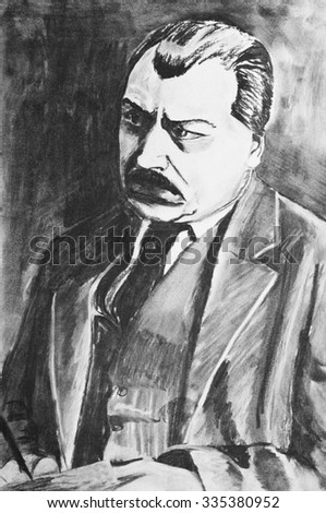 A charcoal drawing. Portrait of a man - stock photo