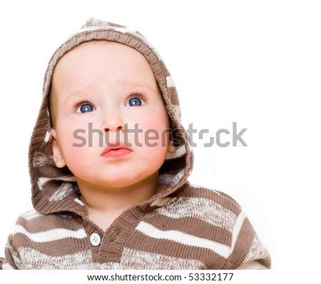 A  charming baby girl wearing in a hood.