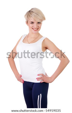 a charming young girl in a white T-shirt makes a sports exercise isolated on white