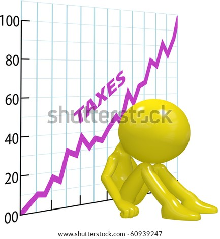 A chart shows high income tax burden increases ruin a 3D taxpayer. - stock photo